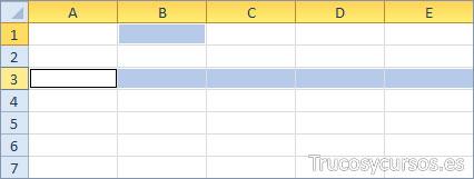 Una fila y una celda Excel (A3:XFD3;B1)