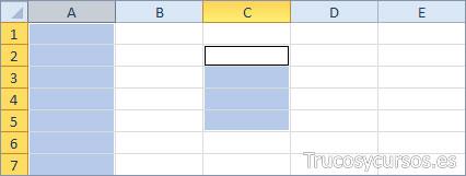 Una columna y un rango Excel (A:A;C2:C5)