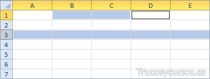 Una fila y un rango Excel (A3:XFD3;B1:D1)