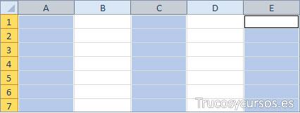 Columnas Excel A, C y E