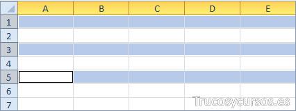 Filas Excel 1, 3 y 5