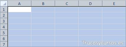 Todas las celdas de la hoja Excel