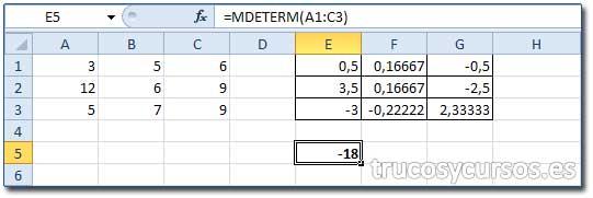 La matriz en Excel: Celda E5 con la determinante de A1:C3