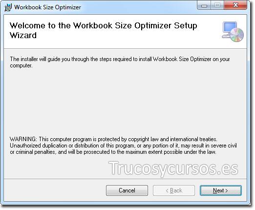 Reducir el tamaño de los archivos Excel 2013: Asistente de instalación