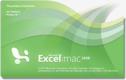 Cuadro de diálogo: Acerca de Microsoft Excel 2008 versión MAC.