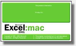 Cuadro de diálogo: Acerca de Microsoft Excel Mac 2001 versión 9.0.