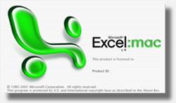 Cuadro de diálogo: Acerca de Microsoft Excel Mac vX versión 10.0.
