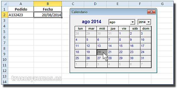 Calendario Con Excel.Calendario En Celda Excel Trucos Y Cursos De Excel