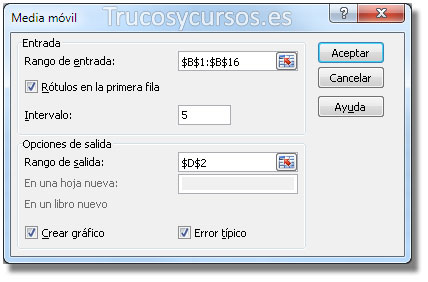 Cuadro de diálogo media móvil Excel, rango B1:B16.