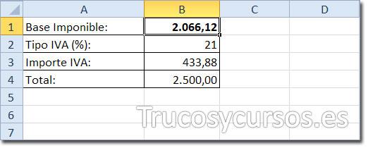 Hoja Excel con el valor de la base imponible (B1) obtenido para un total de 25000 (B4)