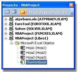 Fecha de vencimiento con macro Excel: Panel explorador de proyecto con ThisWorkbook seleccionado.