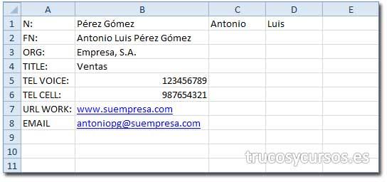 Hoja Excel con los datos importados y adecuados a las necesidades