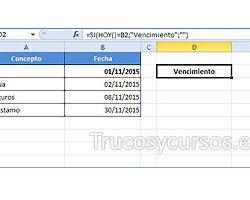 Alerta o aviso de vencimiento de fecha Excel