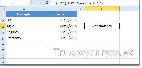 Celda D3 mostrando Vencimiento al ser la fecha 24/10/2015 (Considerando que es la fecha actual 01/11/2015)