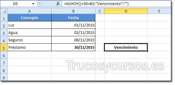 Celda D5 mostrando Vencimiento al ser la fecha 30/11/2015 (Considerando que es la fecha actual 01/11/2015)