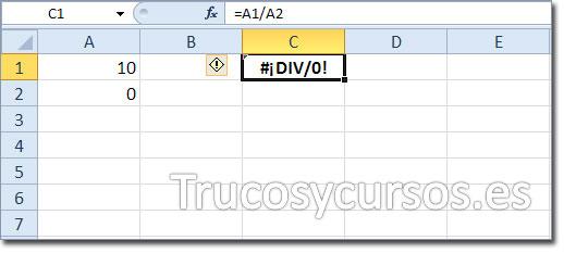 El error #¡DIV/0! en Excel, 10/0.