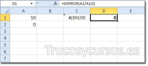 El error #¡DIV/0! en Excel con función SIERROR, mostrando 0