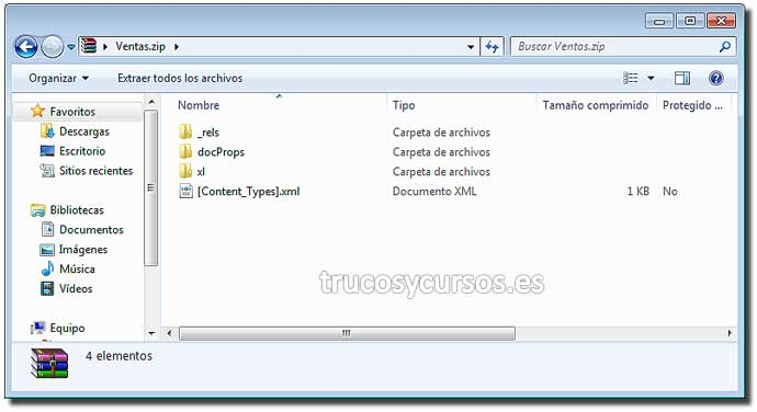 El interior del archivo .xlsx en Excel: Explorador windows mostrando la estructura del libro