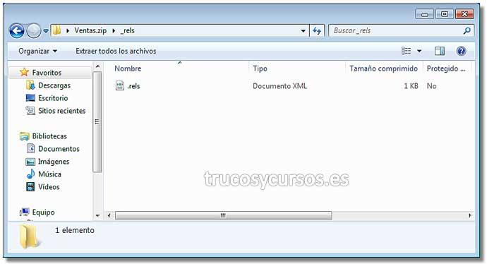 El interior del archivo .xlsx en Excel: Carpeta _rels de Office Open XML