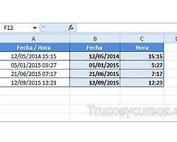 Separar la fecha y hora en campo fecha/hora de Excel