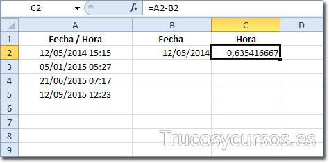 Hoja Excel con fórmula =A2-B2 en celda C2 (formato número)