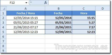 Resultado de separar la fecha y hora en campo fecha/hora de Excel