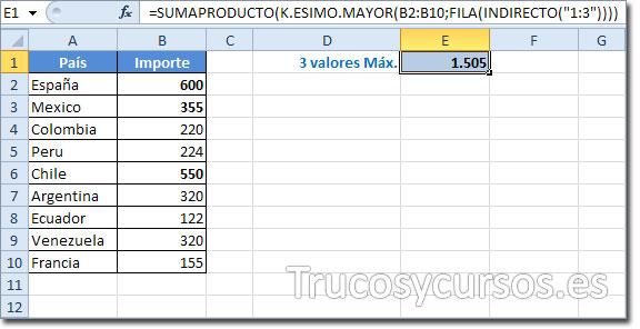 Hoja Excel con celda E1 con el valor 1505 obtenido de la función