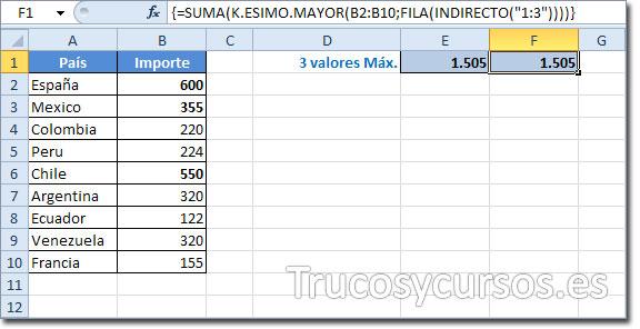 Hoja Excel con celda F1 con el valor 1505 obtenido de la función matricial