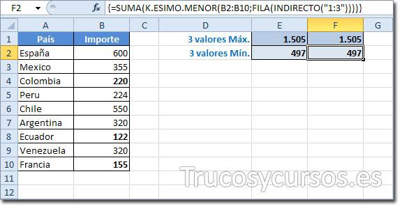 Hoja Excel con celda F2 con el valor 497 obtenido de la función matricial
