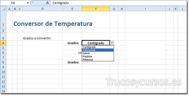 Hoja Excel con la validación tipo lista para la escala de la temperatura.
