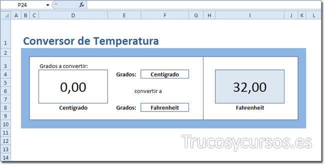 Resultado final del conversor de temperatura en Excel