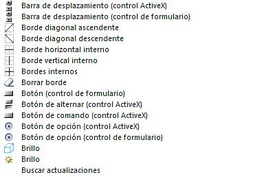 Comandos no disponibles en Excel: Icono, nombre del control Letra B