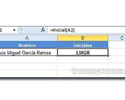 Extraer la primera letra de cada palabra en Excel