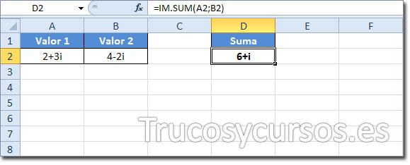 Los números complejos en Excel: Suma de (2+3i) + (4-2i) = 6+i