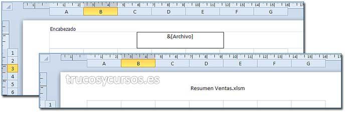 Texto en encabezado o pie de página en Excel: Encabezado con nombre del libro