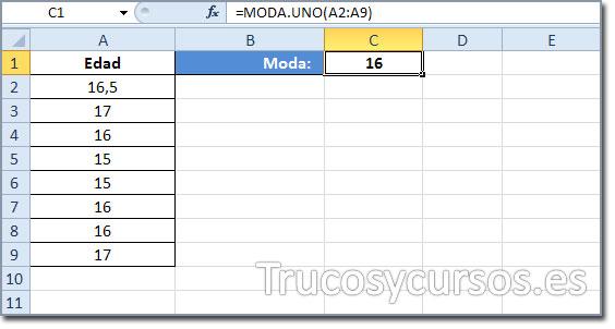 La moda o el valor que más veces se repite en Excel: 16 (se incluye 3 veces)