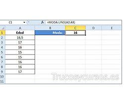 La moda o el valor que más veces se repite en Excel