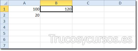 Celda B1 mostrando el valor 120 como la suma de A1+A2