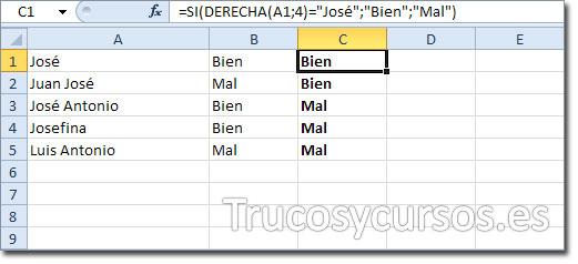 Hoja Excel con celda C1 mostrando BIEN al cumplirse la condición de la función al finalizar por JOSÉ