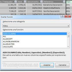 Las funciones de filtro DAX de PowerPivot en Excel