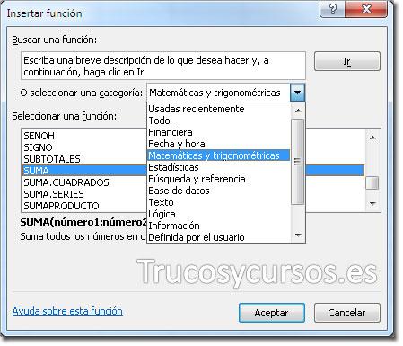 Ventana de funciones de Excel