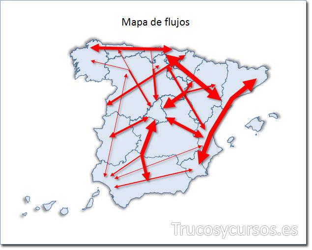 Excel: Mapa de España tipo flujo