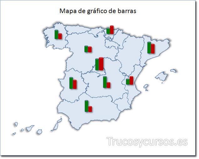 Excel: Mapa de España tipo gráfico de barras