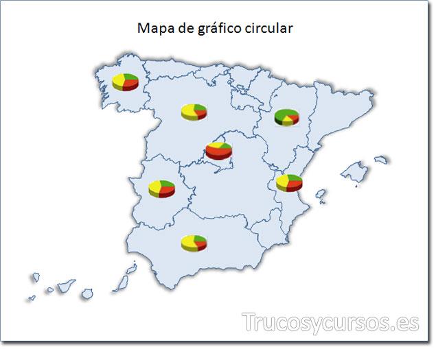 Excel: Mapa de España tipo gráfico circular
