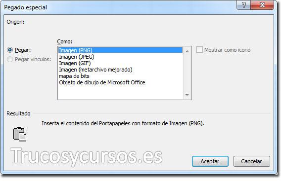 Ventana pegado especial: Formatos al pegar en Excel