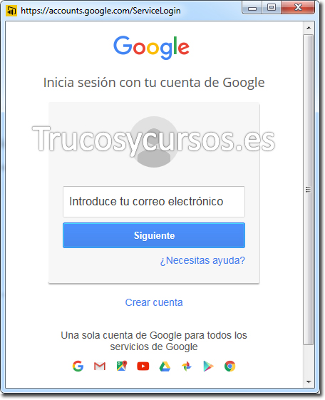 Ventana para iniciar sesión en Google