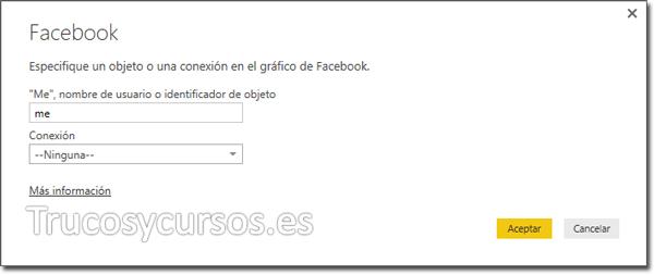 Power BI con Facebook: Conexión de página.