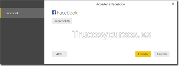 Power BI con Facebook: Acceder a Facebook.
