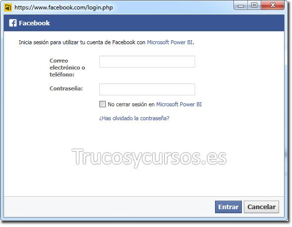 Power BI con Facebook: Iniciar sesión cuenta Facebook.