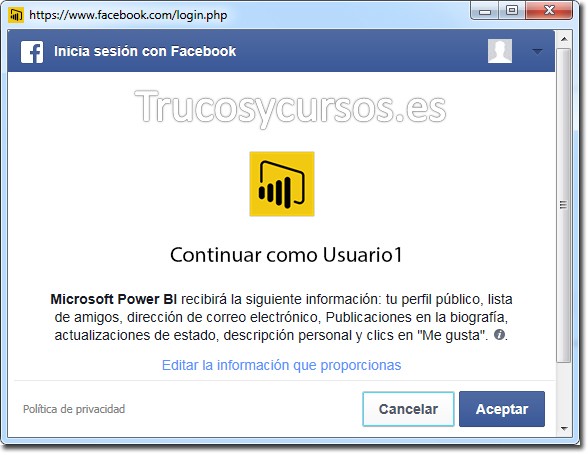 Power BI con Facebook: Continuar como usuario de Facebook.